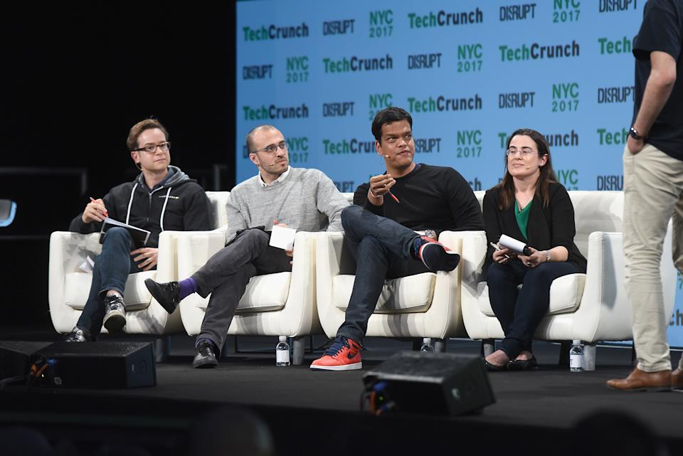 NEW YORK, NY - MAY 15:  (L-R) Matt Turck, Spencer Lazar, Sriram Krishnan and Mar Hershenson speak onstage during TechCrunch Disrupt NY 2017  at Pier 36 on May 15, 2017 in New York City.  (Photo by Noam Galai/Getty Images for TechCrunch)