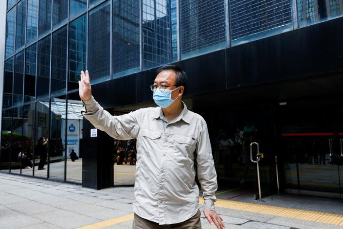 Cheung Man-kwong leaves the court after his sentence was suspended for participating in the assembly on June 4 to commemorate the 1989 crackdown on protesters in and around Beijing's Tiananmen Square