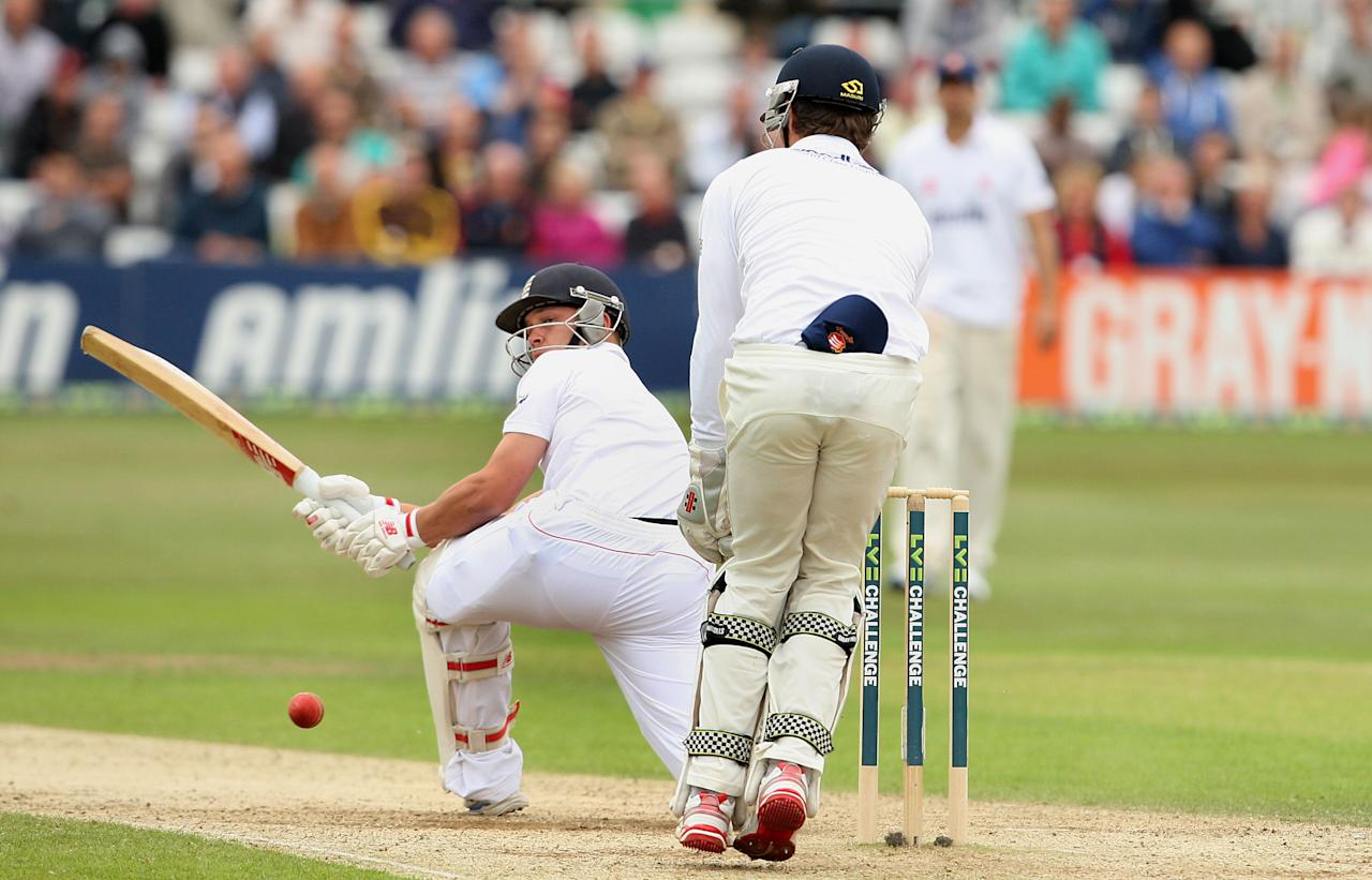 England's Jonathan Trott bats during day three of the International Warm up match at The County Ground, Chelmsford.