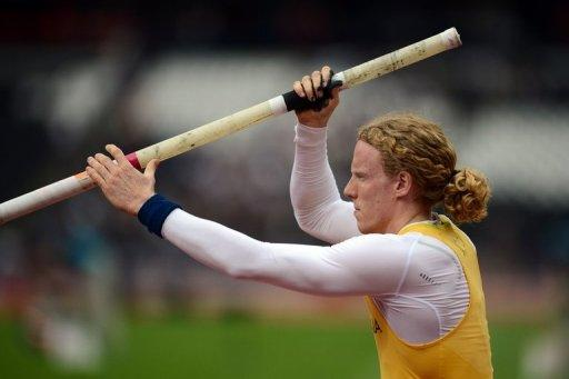 Australia's Steve Hooker concentrates prior to competing in the men's pole vault qualifications at the athletics event of the London 2012 Olympic Games, on August 8. Hooker says he is in fantastic physical shape and mentally in the right form to retain his Olympic title on Friday