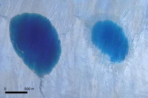 Aerial photography captured by drones from before and after showed a dark blue oval shrink into a smaller, shallower and lighter blue circle