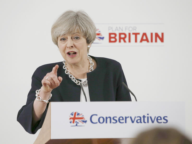 The poll, conducted by ComRes for The Independent, gives May's Tories 46 per cent of the vote share, with 25 per cent for Labour: Reuters