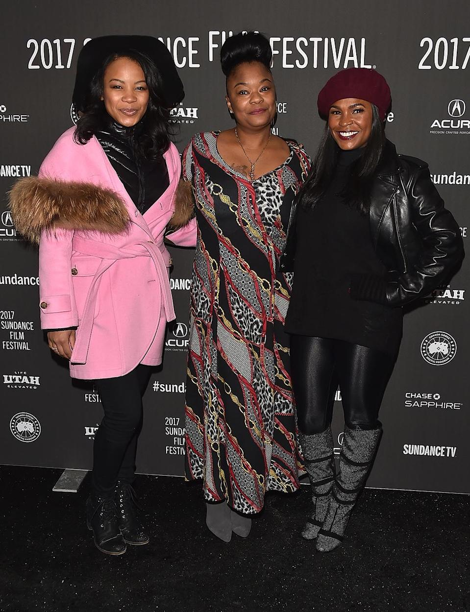 <p>Adams and Long pose with the real Roxanne Shante at the 'Roxanne Roxanne' premiere on Jan. 22. (Photo: Alberto E. Rodriguez/Getty Images) </p>