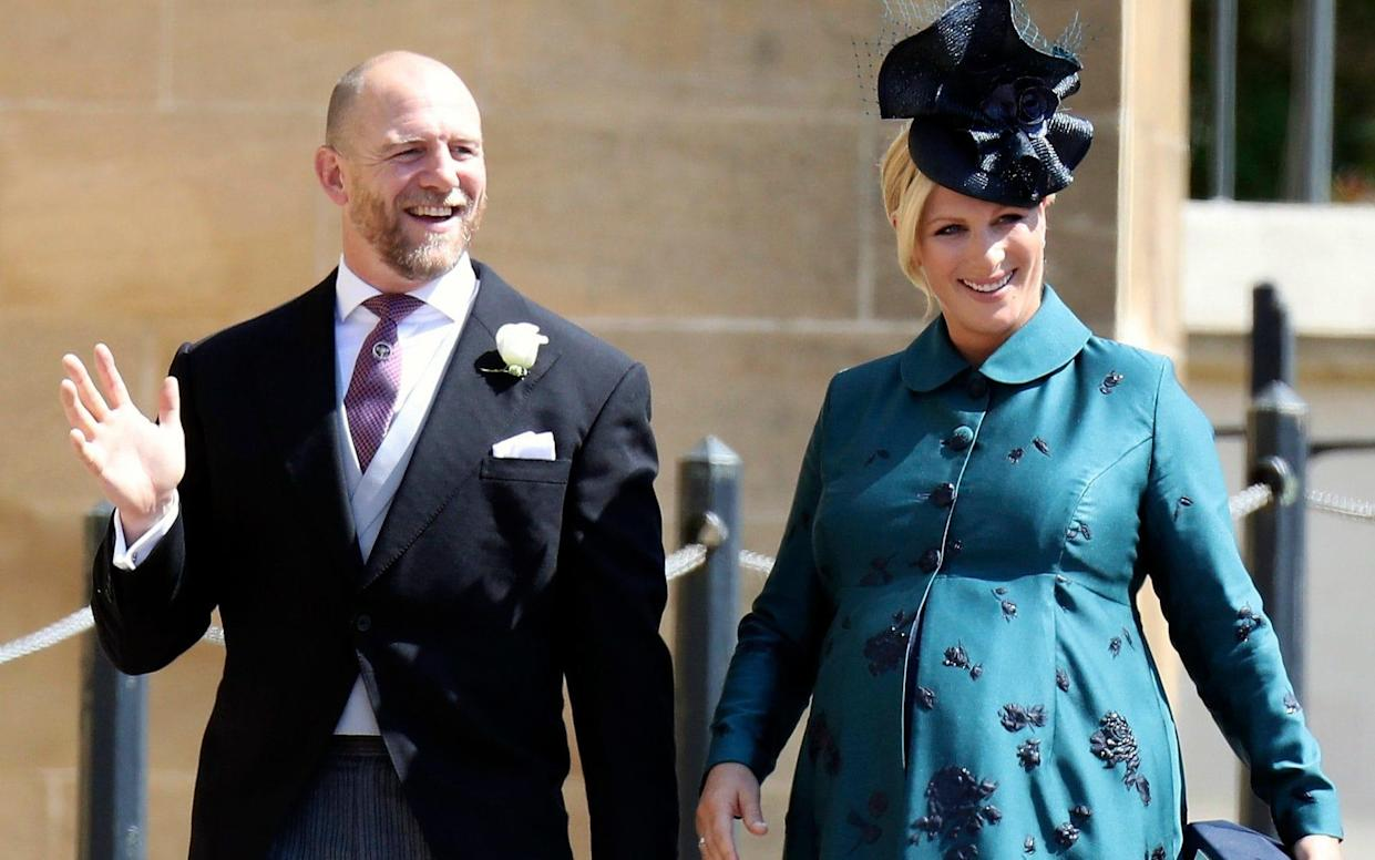 Zara and Mike Tindall (pictured at the royal wedding of the Duke and Duchess of Sussex) name their daughter Lena Elizabeth in nod to the Queen - POOL GETTY