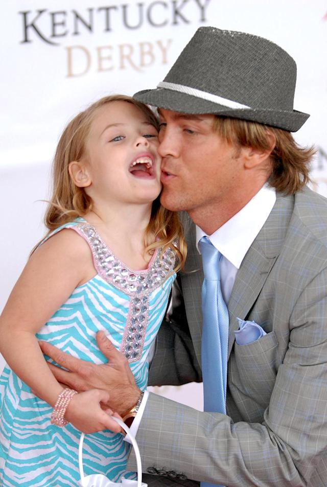 <p>Dannielynn was full of energy and just adored her dad when she arrived at Churchill Downs for the 2011 event. She sported an animal-print look that we're sure her mom would've loved. (Photo: Stephen Cohen/Getty Images for Longines) </p>