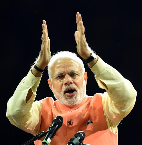 Prime Minister Narendra Modi of India speaks a community reception in New York in September 2014 (AFP Photo/DON EMMERT)