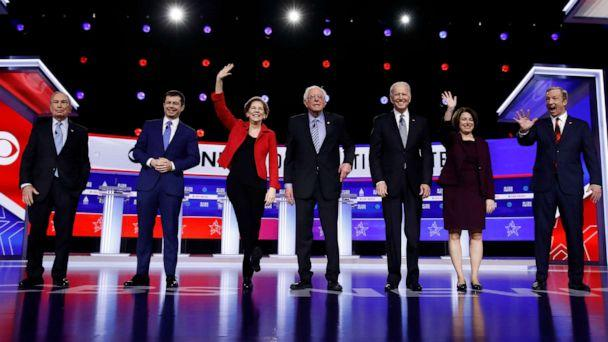 PHOTO: Democratic presidential candidates participate in a Democratic presidential primary debate, Feb. 25, 2020, in Charleston, S.C. (Matt Rourke/AP)