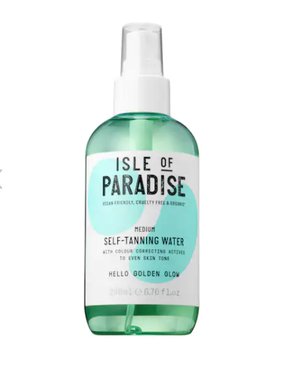 "<p><strong>Isle of Paradise</strong></p><p>amazon.com</p><p><strong>$41.42</strong></p><p><a href=""https://www.amazon.com/Self-Tanning-Water-Medium-Golden-Glow/dp/B07D8HN9V6?tag=syn-yahoo-20&ascsubtag=%5Bartid%7C10055.g.127%5Bsrc%7Cyahoo-us"" rel=""nofollow noopener"" target=""_blank"" data-ylk=""slk:Shop Now"" class=""link rapid-noclick-resp"">Shop Now</a></p><p>""Clear"" self-tanners are all the rage right now because they claim not to ruin your sheets and towels while developing a natural glow. While we haven't formally tested this formula in the Lab, this formula from Isle of Paradise is a reviewer favorite that <strong>looks and feels just like water</strong>, and comes in three options for fair, medium, and deep skin tones and results. </p>"