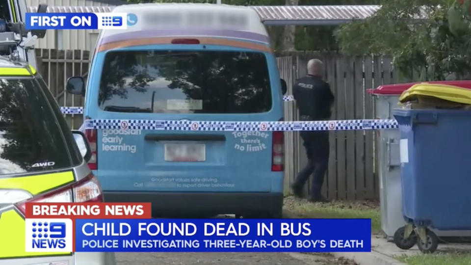On Tuesday,  a three-year-old boy was found dead inside a mini-bus in Edmonton, Queensland. Source: Nine News
