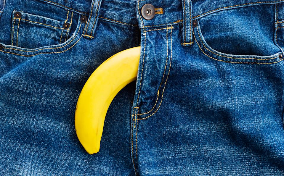 Single banana out of mens jeans