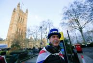 Westminster protester and anti Brexit activist Steve Bray, speaks during a Reuters interview near the Parliament Buildings in Westminster, London