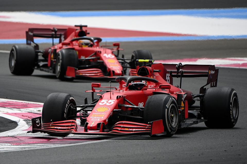 Ferrari's Spanish driver Carlos Sainz Jr drives ahead of Ferrari's Spanish driver Carlos Sainz Jr during the French Formula One Grand Prix at the Circuit Paul-Ricard in Le Castellet, southern France, on June 20, 2021. (Photo by CHRISTOPHE SIMON / AFP) (Photo by CHRISTOPHE SIMON/AFP via Getty Images)
