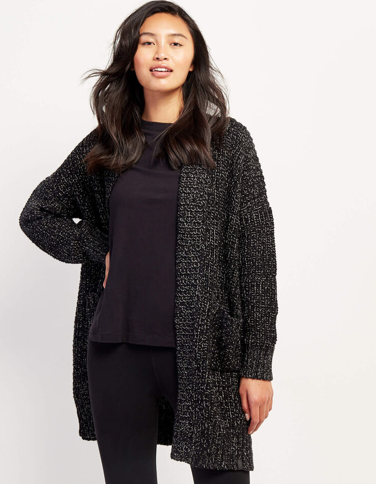 Snowy Fox Open Cardigan. Image via Roots.