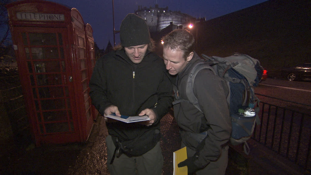 """Beacon of Hope"" -- At the Pit Start, Hockey brothers Bates (left) and Anthony (right) must make their way by train to Southern Scotland where they will board a ferry and cross the Irish Sea to Belfast, Ireland on the 22nd season finale of ""The Amazing Race."""