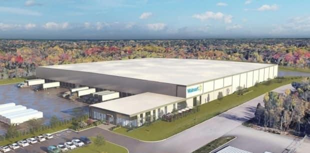 Walmart said the location of the distribution centre will eliminate millions of kilometres of truck travel from the supply chain. (CNW Group/Walmart Canada - image credit)