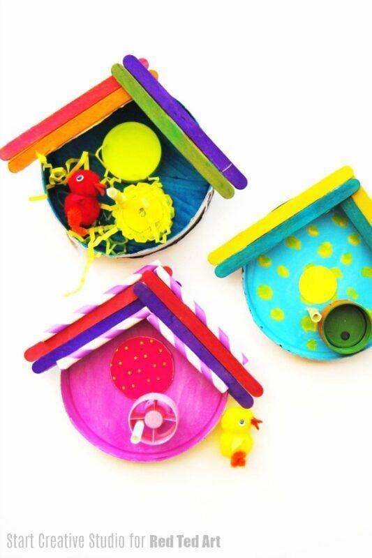 """<p>A variety of recyclable materials — such as plastic lids, paper straws, and shredded paper — can be used to help kids decorate their own cardboard container birdhouses.</p><p><strong><em><a href=""""https://www.redtedart.com/decorative-birdhouses-made-from-loose-parts-and-recycled-items/"""" rel=""""nofollow noopener"""" target=""""_blank"""" data-ylk=""""slk:Get the tutorial at Red Ted Art"""" class=""""link rapid-noclick-resp"""">Get the tutorial at Red Ted Art</a>. </em></strong></p><p><a class=""""link rapid-noclick-resp"""" href=""""https://www.amazon.com/Package-Decorate-Crafting-Creating-Projects/dp/B00IMM07VU?tag=syn-yahoo-20&ascsubtag=%5Bartid%7C10070.g.37055924%5Bsrc%7Cyahoo-us"""" rel=""""nofollow noopener"""" target=""""_blank"""" data-ylk=""""slk:SHOP CARDBOARD CONTAINERS"""">SHOP CARDBOARD CONTAINERS</a></p>"""