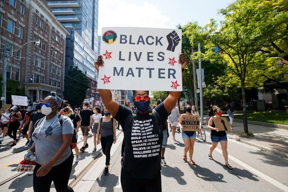 A photo during a June 2020 Black Lives Matter protest in Toronto, Ont. (Photo by Cole Burston/Getty Images)