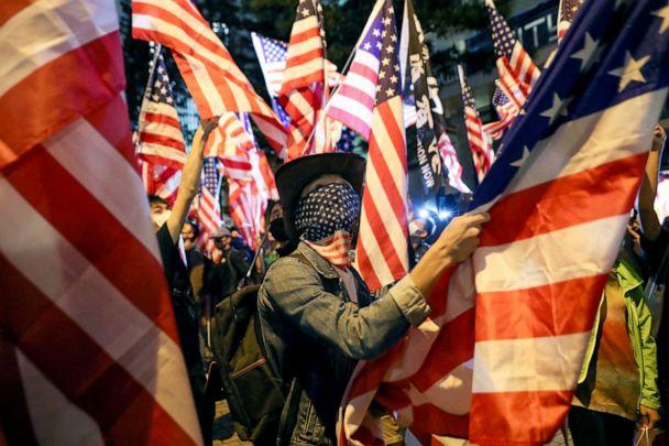 PHOTO: A demonstrator holds a U.S. flag as they attend a rally in Hong Kong, Nov. 28, 2019. (Leah Millis/Reuters)