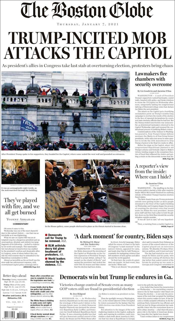 Front page of the Boston Globe on Thursday