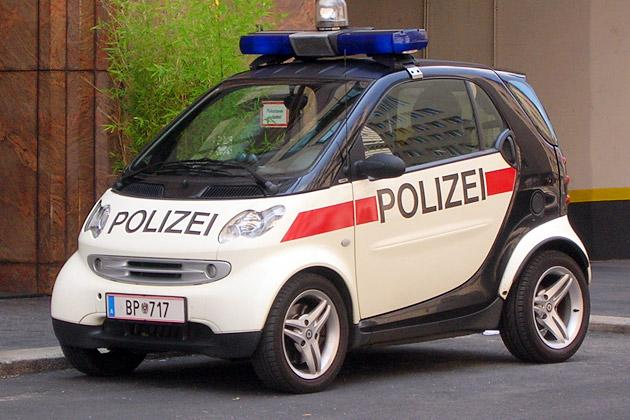 This one's familiar to most of us as a cop car after inspector Clouseau displayed his driving skills in this car in Pink Panther II. The Smart Cars are a popular choice as a cop car since they are the greenest with the lowest carbon emissions.