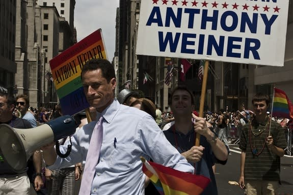 New York politician Anthony Weiner participates in a Pride parade in 2008, three years before a sexting scandal would force his resignation from Congress.
