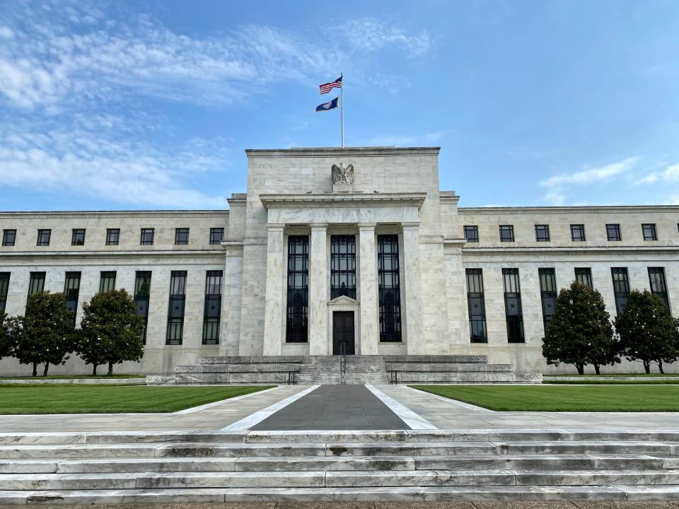 The Federal Reserve Board building is viewed on July 1, 2020 in Washington,DC. - The world's largest economy is showing signs it is rebounding faster than expected from the damage inflicted by the coronavirus pandemic, but US officials on June 30, 2020 signaled more aid may be needed to solidify the comeback. (Photo by Daniel SLIM / AFP) (Photo by DANIEL SLIM/AFP via Getty Images)