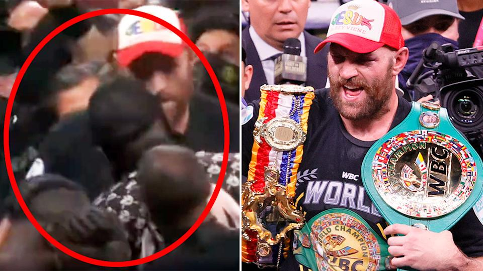 Seen here, Tyson Fury reacts after beating Deontay Wilder in their trilogy bout.