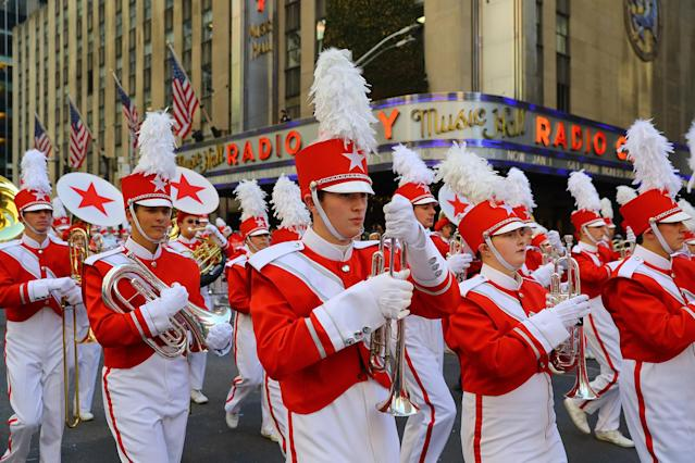<p>The Macy's Great American Marching Band marches in the 91st Macy's Thanksgiving Day Parade in New York, Nov. 23, 2017. (Photo: Gordon Donovan/Yahoo News) </p>