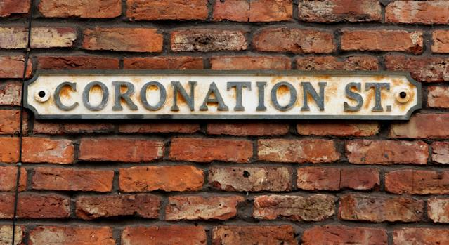 A general view of the Coronation Street sign in Manchester