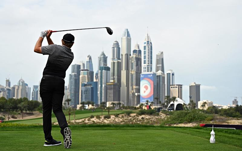 Eddie Pepperell tees off from the ninth during the second round of the Omega Dubai Desert Classic - Getty Images Europe