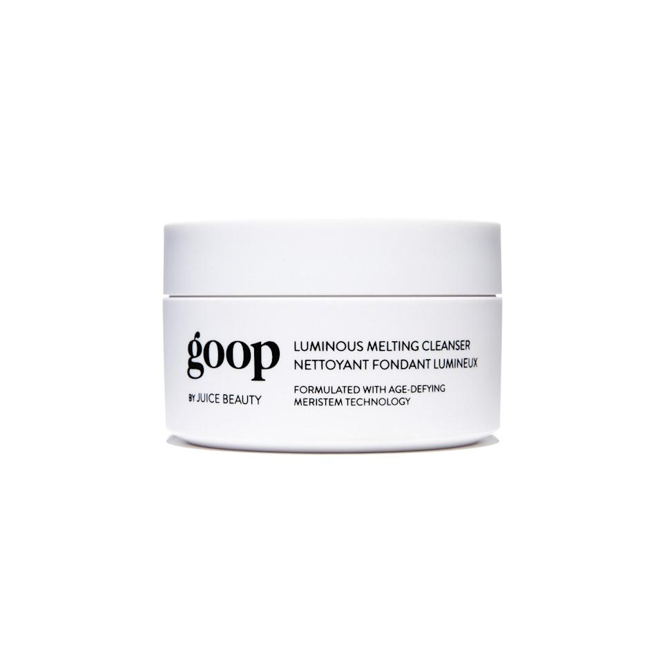 """<p>At first touch, this <a href=""""https://www.allure.com/review/goop-by-juice-beauty-luminous-melting-cleanser?mbid=synd_yahoo_rss"""" rel=""""nofollow noopener"""" target=""""_blank"""" data-ylk=""""slk:Best of Beauty-winning product"""" class=""""link rapid-noclick-resp"""">Best of Beauty-winning product</a> feels just like its name — goopy. But after swirling a scoop of the Goop by Juice Beauty Luminous Melting Cleanser into your face, it instantly softens and disappears, which makes sense considering coconut oil is the second ingredient. (It also contains olive oil and a veritable English garden of dreamy botanical essential oils.) You may balk at the price, but in this case, you <em>do</em> get what you pay for: The product is formulated with 75 percent organic content and includes a white linen cloth to stylishly wipe all the balm away.</p> <p><strong>$90</strong> (<a href=""""https://shop-links.co/1629500074704290636"""" rel=""""nofollow noopener"""" target=""""_blank"""" data-ylk=""""slk:Shop Now"""" class=""""link rapid-noclick-resp"""">Shop Now</a>)</p>"""