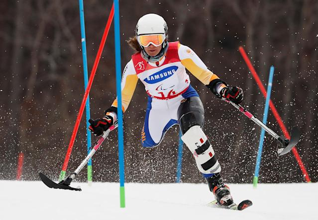 Alpine Skiing - Pyeongchang 2018 Winter Paralympics - Women's Slalom - Standing - Run 1 - Jeongseon Alpine Centre - Jeongseon, South Korea - March 18, 2018 - Anna Jochemsen of the Netherlands. REUTERS/Paul Hanna
