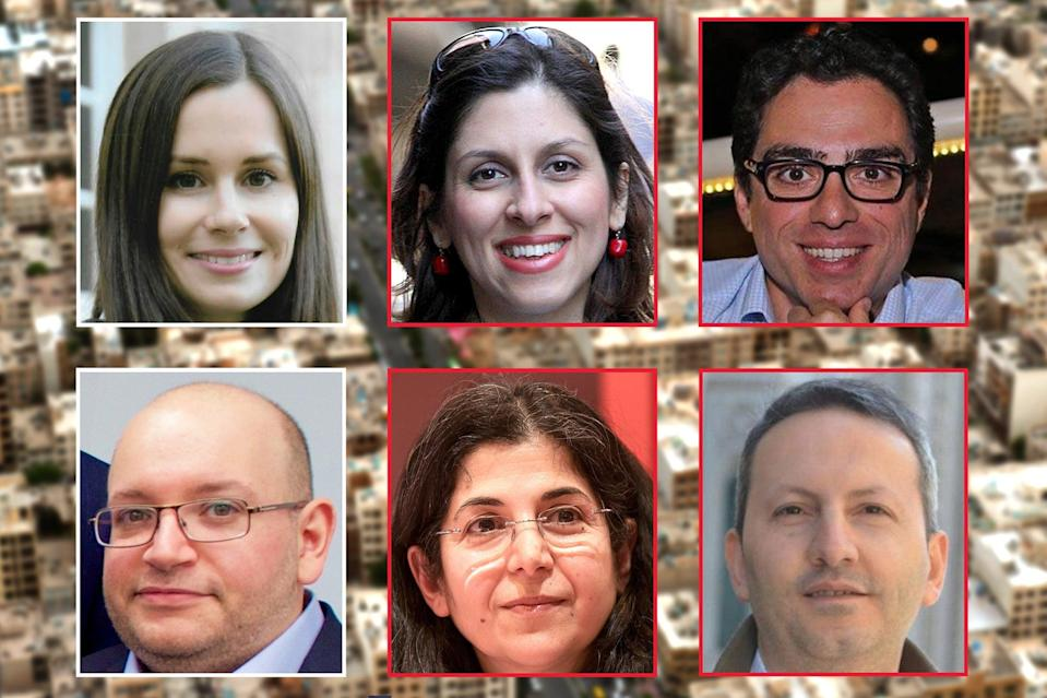 <p>Left to right top: Kylie Moore-Gilbert, Nazanin Zaghari-Ratcliffe and Siamak Namazi. Bottom: Jason Rezaian, Farbia Adelkhah and Ahmad Reza Jalali</p> (PA/Getty/Georges Seguin)