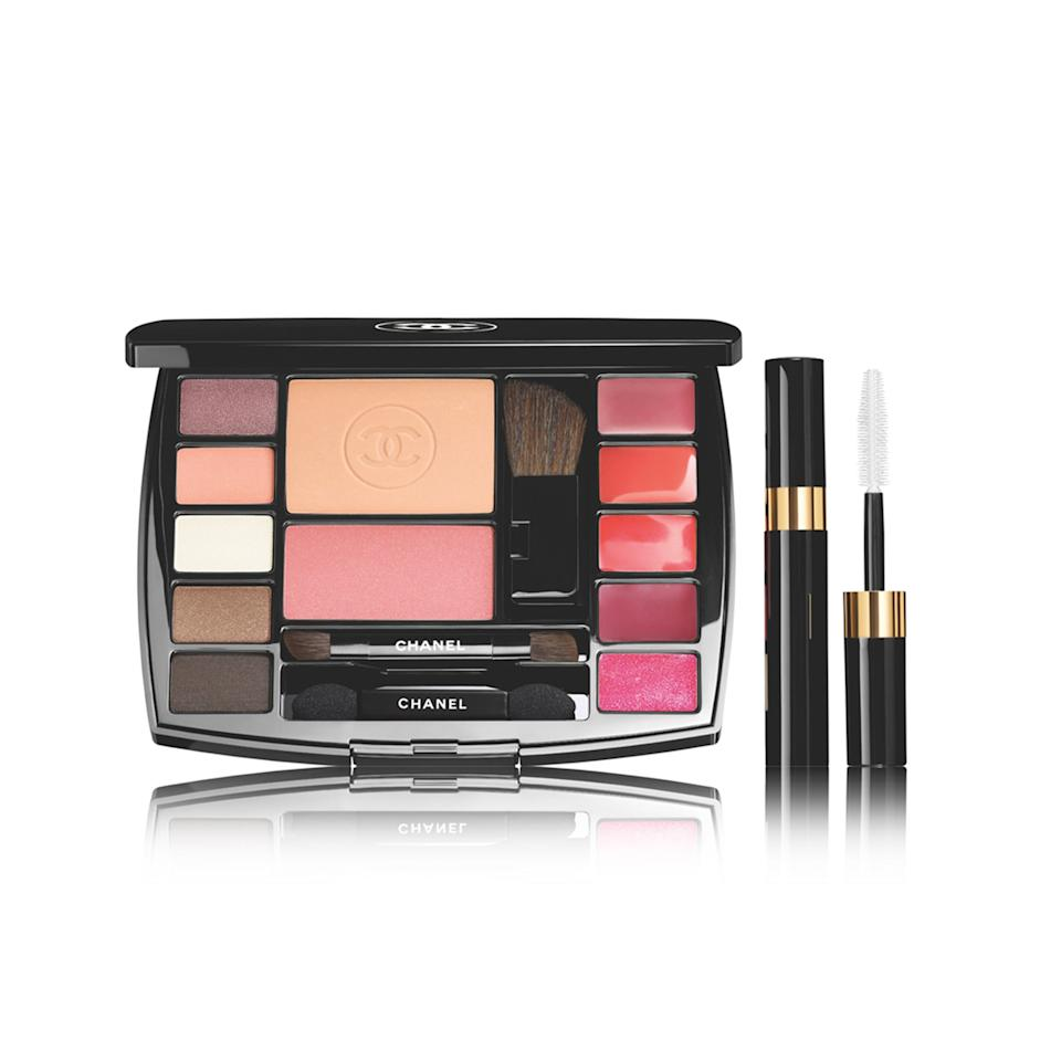 """<p>Sure, this might just be the fanciest makeup palette we've ever seen cross our desks. But with five powder eye shadows, three lip glosses, two cream lipsticks, one blush, and one setting powder—all in totally wearable, versatile hues—it's also, surprisingly, the most useful. And there's more; on the side comes a miniature version of our favorite Chanel Inimitable Mascara Chanel Inimitable Mascara</p> <p>$95 (<a rel=""""nofollow"""" href=""""http://shop.nordstrom.com/?cm_mmc=Linkshare-_-partner-_-10-_-1&mbid=synd_yahoobeauty&siteId=TnL5HPStwNw-_ZDcXE5rgexHbj3.xFmucQ"""">nordstrom.com</a>)</p>"""