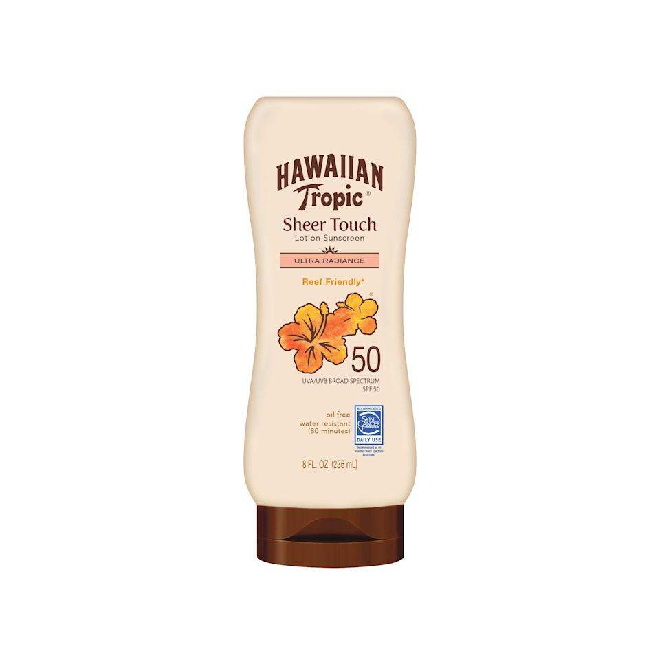 """<p><strong>Hawaiian Tropic</strong></p><p>walmart.com</p><p><strong>$7.97</strong></p><p><a href=""""https://go.redirectingat.com?id=74968X1596630&url=https%3A%2F%2Fwww.walmart.com%2Fip%2F15610900&sref=https%3A%2F%2Fwww.thepioneerwoman.com%2Fbeauty%2Fskin-makeup-nails%2Fg32381661%2Fbest-natural-sunscreen%2F"""" rel=""""nofollow noopener"""" target=""""_blank"""" data-ylk=""""slk:Shop Now"""" class=""""link rapid-noclick-resp"""">Shop Now</a></p><p>This lotion will run you only about $8 and is formulated with shea butter, so it's moisturizing but not greasy. Bonus: Mango fruit extract gives it a natural, tropical scent. </p>"""