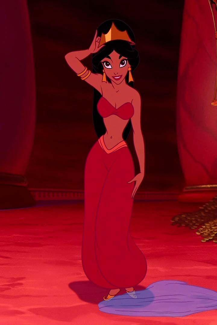 <p>Jasmine wears a red version of her two-piece set during the film's most intense moment — when Jafar seizes control over the city. </p>