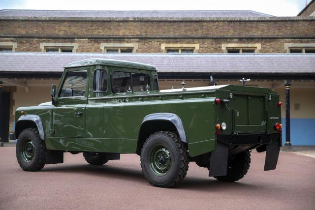 The Land Rover that will be used to transport the coffin