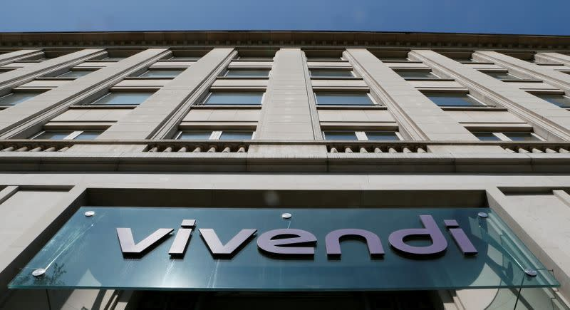 FILE PHOTO: A Vivendi sign at the main entrance of the company's Paris headquarters