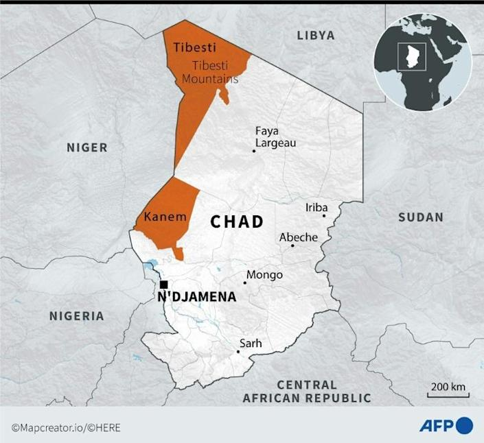Map of Chad locating the regions of Tibesti and Kanem, where clashes have occurred between the army and rebels