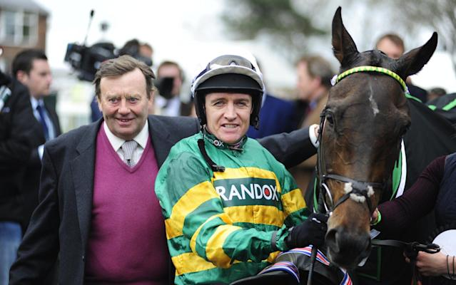 <span>Back in the old routine: jockey Barry Geraghty with trainer Nicky Henderson after Buveur D'Air won the Aintree Hurdle </span> <span>Credit: Rex </span>