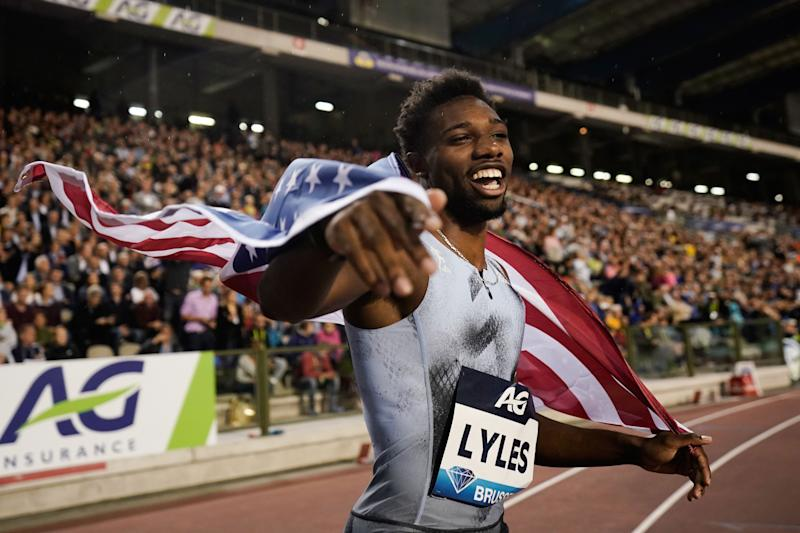US Noah Lyles celebrates after winning in the Men's 200m race during the IAAF Diamond League competition on September 6, 2019 in Brussels. (Photo by Kenzo TRIBOUILLARD / AFP) (Photo credit should read KENZO TRIBOUILLARD/AFP/Getty Images)