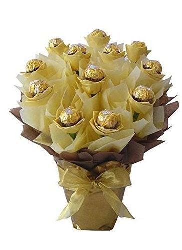 """<h3>Ferrero Rocher Bouquet</h3><br>This is no regular chocolate-rose bouquet — these golden blooms pack a fine milk-chocolate-hazelnut surprise. <br><br><strong>Ferrero Rocher</strong> Chocolate Candy Bouquet, $, available at <a href=""""https://amzn.to/2GZFxHs"""" rel=""""nofollow noopener"""" target=""""_blank"""" data-ylk=""""slk:Amazon"""" class=""""link rapid-noclick-resp"""">Amazon</a>"""