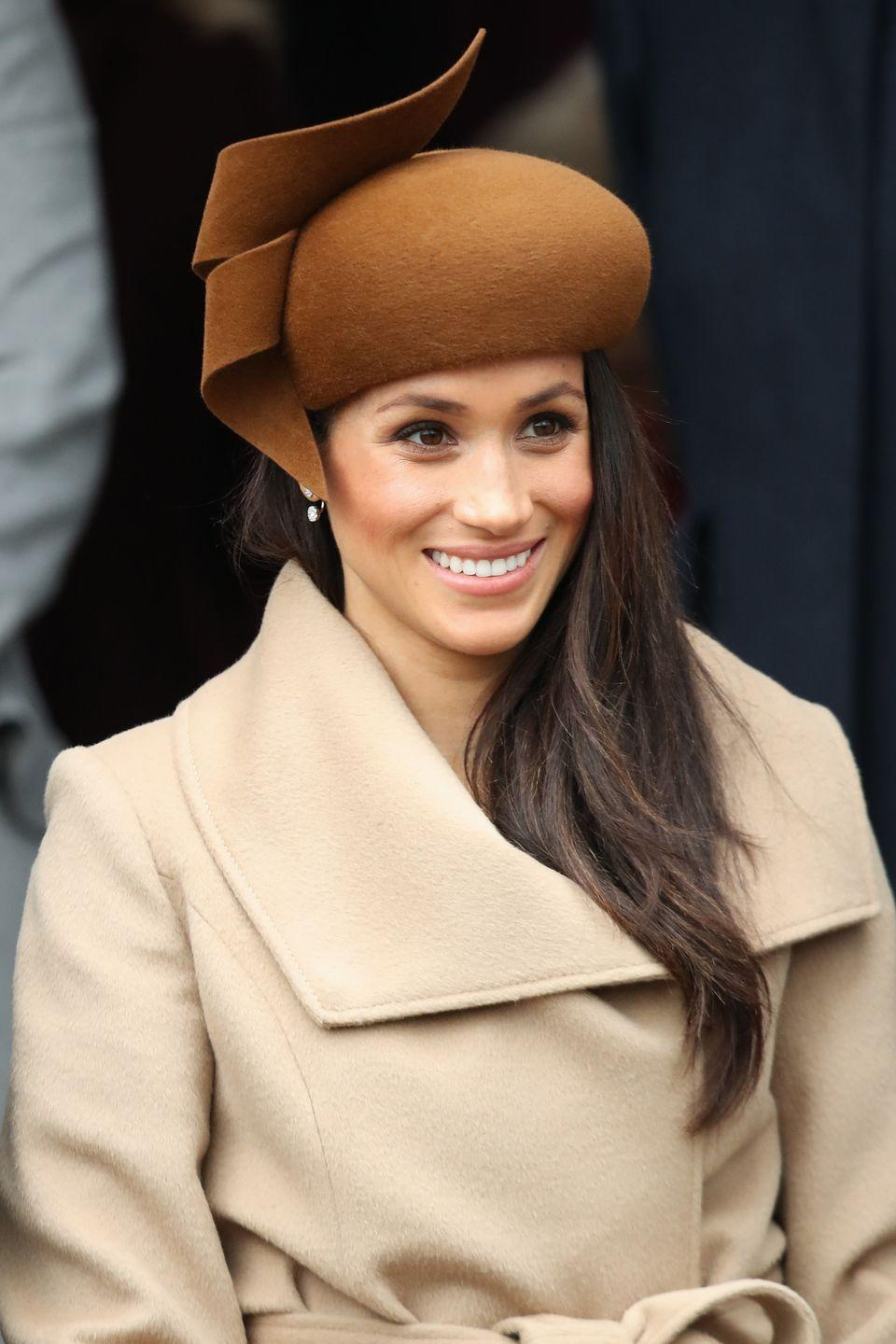 """<p>Royal women are also expected to wear """"neat and natural"""" makeup and keep it to a minimum. However, during Meghan's 2018 Christmas with the royal fam, she wore relatively heavy (and extremely pretty!) blush on her cheekbones. I'm into it, tbh. </p>"""