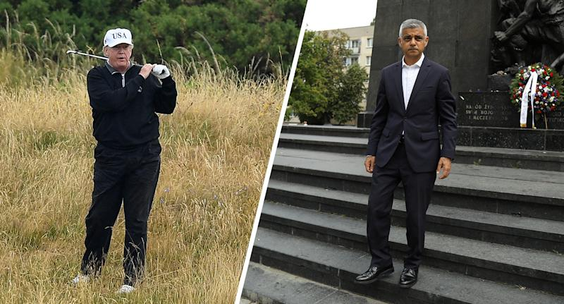 President Donald Trump plays a round of golf and London Mayor Sadiq Khan stands at the Monument to the Ghetto Heroes in Warsaw, Poland Sept. 2, 2019. (Photos: Leon Neal/Getty Images, Maciek Jazwiecki/Agencja Gazeta via Reuters)