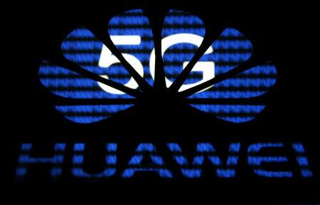 FILE PHOTO: A 3-D printed Huawei logo is seen in front of displayed 5G words in this illustration taken February 12, 2019. REUTERS/Dado Ruvic/File Photo