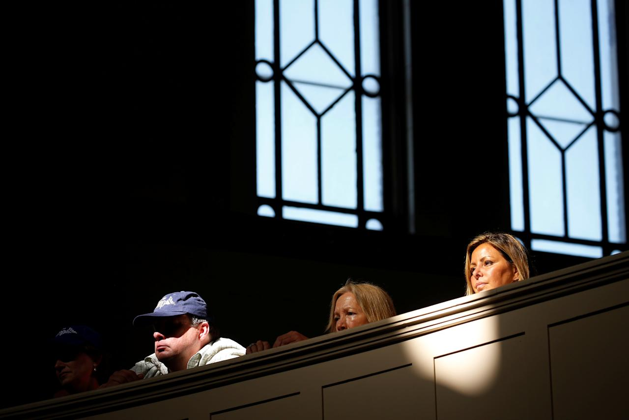 Attendees look on from the balcony as Republican presidential nominee Donald Trump addresses a gathering of clergy members at the New Spirit Revival Center in Cleveland Heights, Ohio, U.S. September 21, 2016. REUTERS/Jonathan Ernst