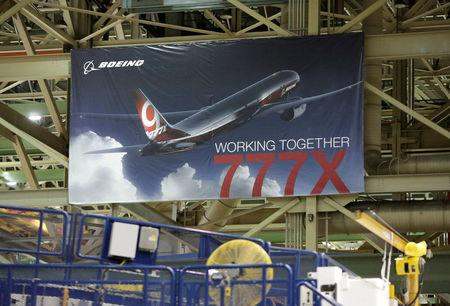 FILE PHOTO: A 777X banner is pictured above the 777 Wing Horizontal Build Line at Boeing's production facility in Everett, Washington