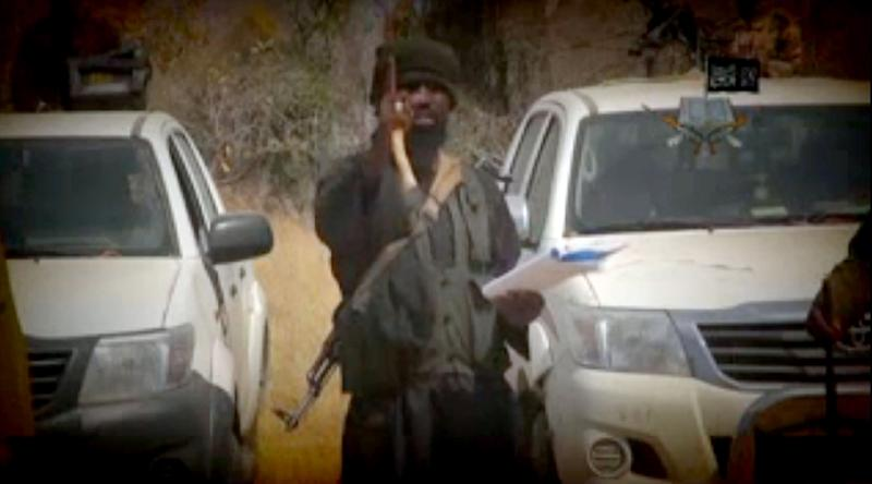 In this screen grab image taken on February 9, 2015 from a video made available by Islamist group Boko Haram, leader Abubakar Shekau makes a statement at an undisclosed location