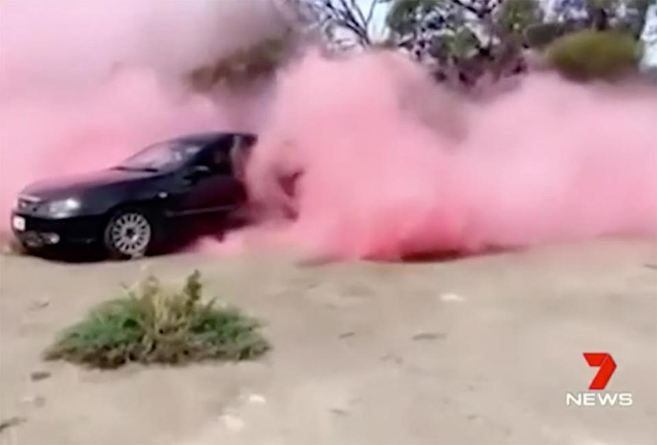 The couple did a burn out with pink smoke as a gender reveal stunt.