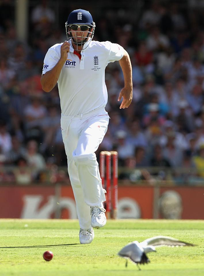 PERTH, AUSTRALIA - DECEMBER 17:  Alastair Cook of England chases the ball in the field during day two of the Third Ashes Test match between Australia and England at the WACA on December 17, 2010 in Perth, Australia.  (Photo by Hamish Blair/Getty Images)